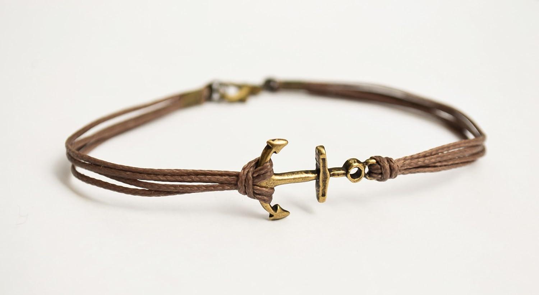 Anchor cord bracelet, men's bracelet, bronze anchor charm, brown cords, bracelet for men, maritime, gift for him, skipper bracelet, mens men' s bracelet