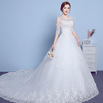 Desconocido Vestido de novia manga redonda cuello trasero coreano simple más el tamaño de encaje vestido