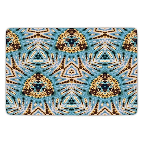 Bathroom Bath Rug Kitchen Floor Mat Carpet,Tie Dye Decor,Tribal Stylized Trippy Shapes with Dirt Grungy Paint Reflections Artisan Print,Blue Gold,Flannel Microfiber Non-slip Soft (Reflections Shape)