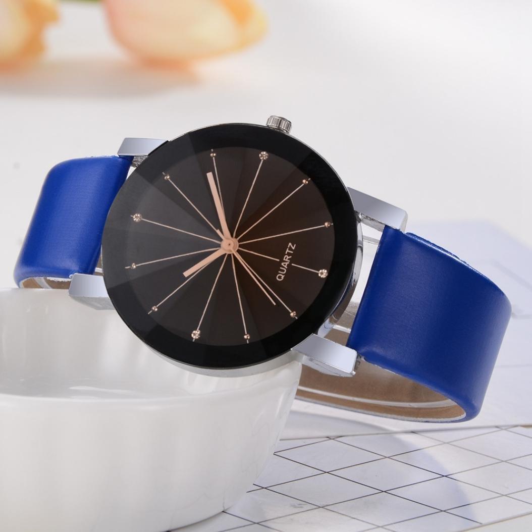 Montre Ronde Unisexe Convexe Cadran De Poignet En Cuir Quartz Horloge (4  cm, F)  Amazon.fr  Montres 95d7ff673fe
