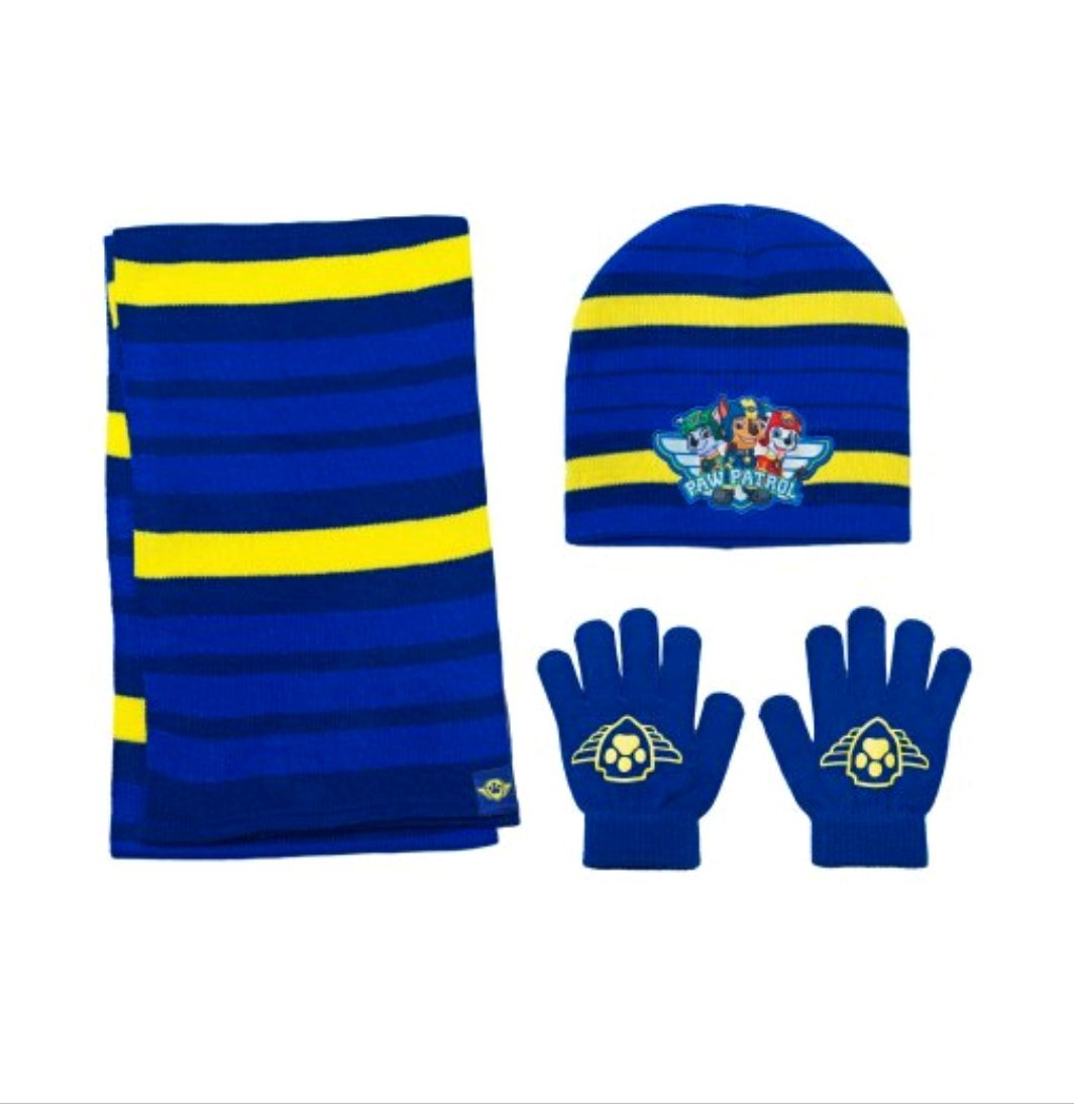 Paw Patrol Boys Winter 3pc Set Hat Gloves and Scarf, Blue, One Size Fits Most