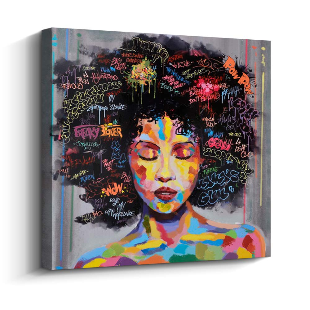 Pinetree art african american black art canvas wall art original designed pop graffiti style canvas painting on print 16 x 20 inch b framed