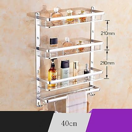 Bastidores de baño- De aluminio del espacio de toallas, estantes del cuarto de baño