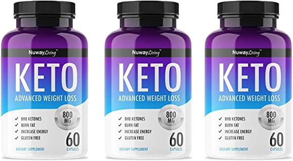 Keto Diet Advanced Fat Burner by Nuway Living -800MG – Burn Fat Instead of Carbs – Advanced Weight Loss Ketosis Supplement – 180 Capsules – 90 Days Supply 3 Pack