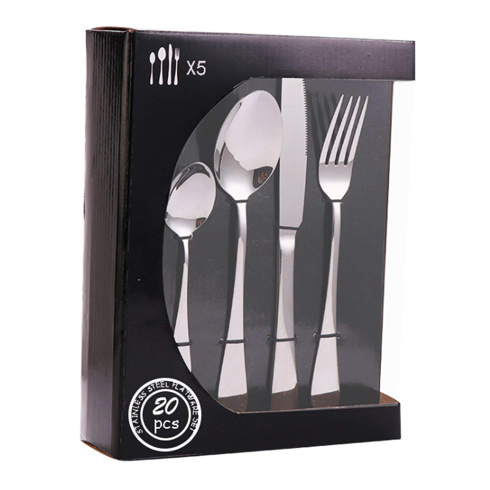 20 Piece – Silverware Flatware Cutlery Set Service for 5 Included Knife/Fork/Spoon