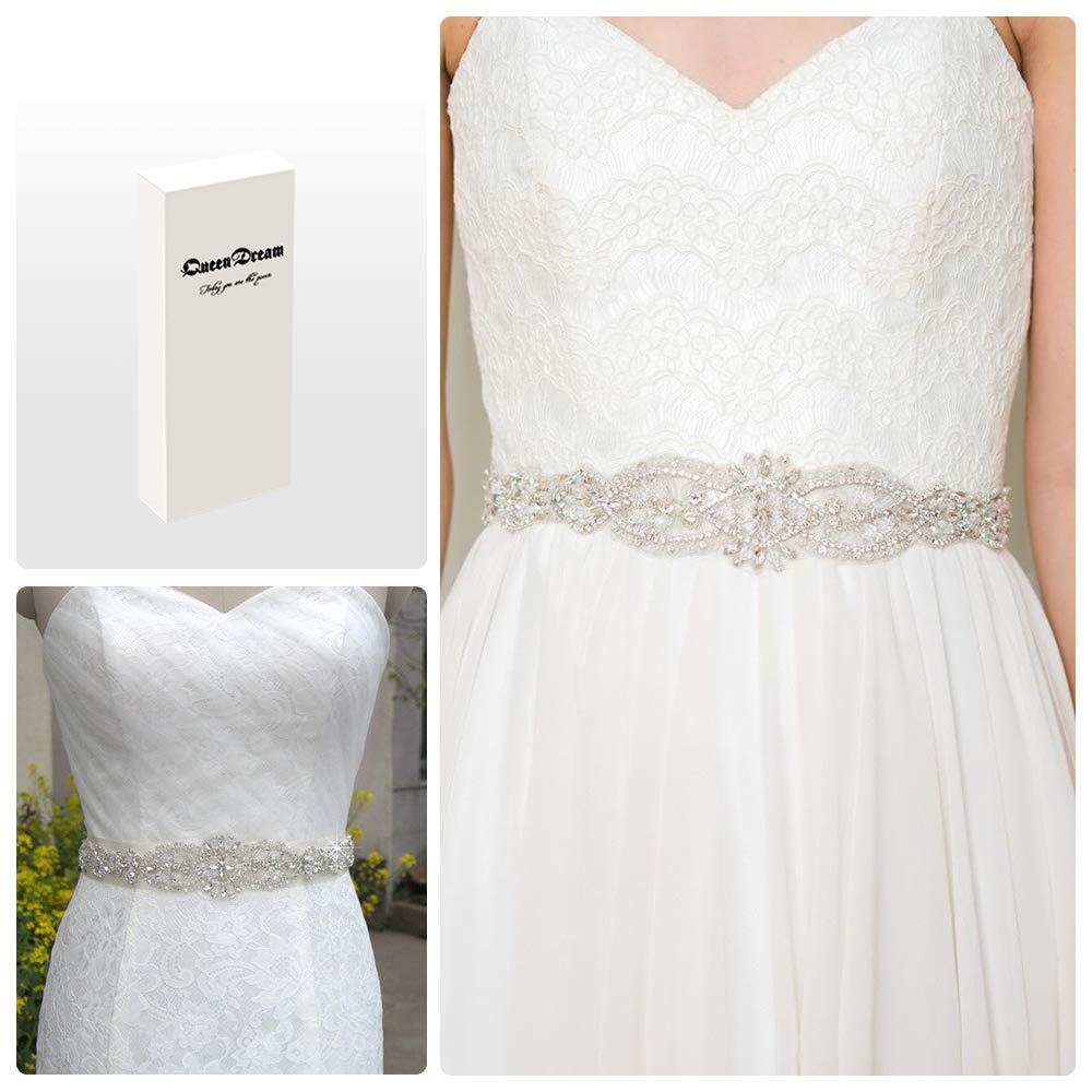 QueenDream light ivory Bridal Sash Crystals Wedding Belt