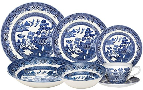 - Churchill Blue Willow 42 Piece Dinner/Tea Set