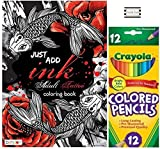Just Add Ink 40pg Adult Tattoo Coloring Book With 12ct Crayola Colored Pencils