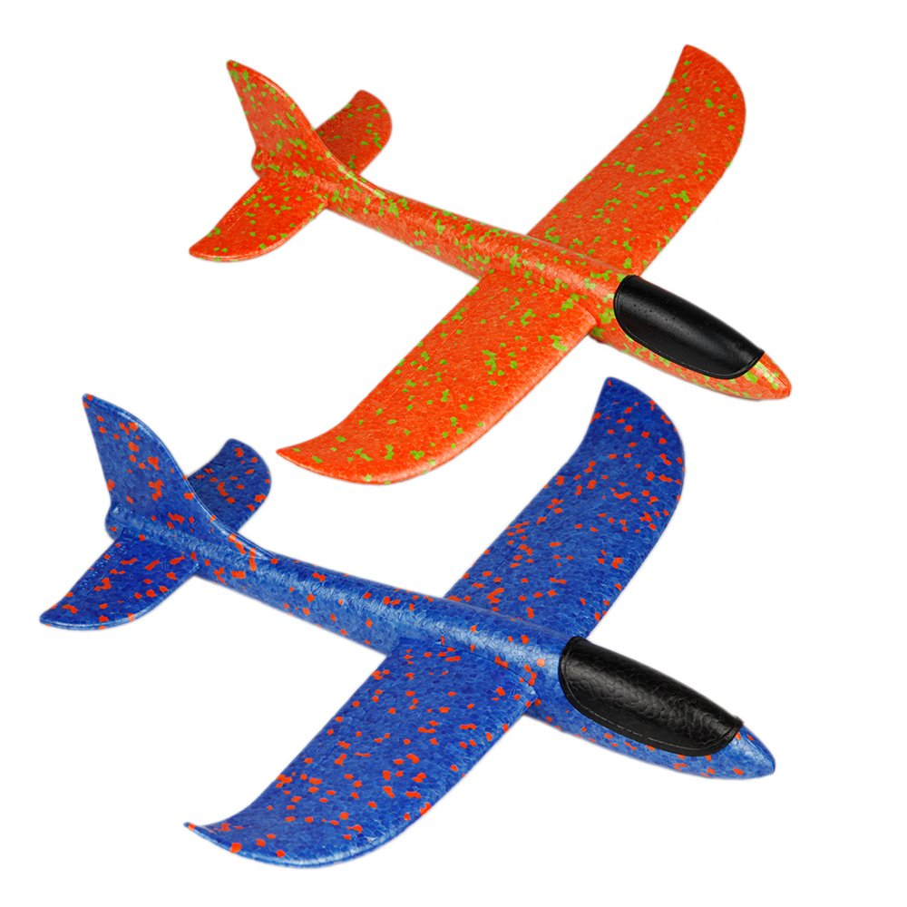 BigSmyo 2pcs aircraft manual throwing foam aircraft for fun kids outdoor sports toys, 2 flight modes: swing and gliding, challenge (blue and orange)