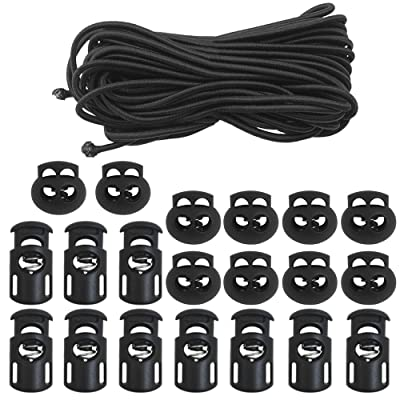 """DaKuan 20 PCS Plastic Cord Locks & Elastic Bungee Nylon Shock Cord 5/32"""" 50 ft Lengths, 10 PCS Sing-Hole, 10 PCS Double-Hole (Black) End Spring Toggle Stopper Slider with Crafting Stretch String: Automotive"""