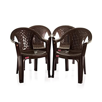 Varmora Medium Back Chair Set of 4 (Netted - Brown)