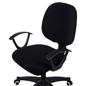 smiry Office Computer Chair Covers, Stretch Jacquard Universal Desk Rotating Chair Slipcovers Protector, Seat Cover + Backrest Cover, Black