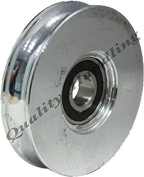 Rueda de puerta corredera rueda de la polea 100 mm Rueda de acero redondo rueda R forma de U: Amazon.es: Coche y moto