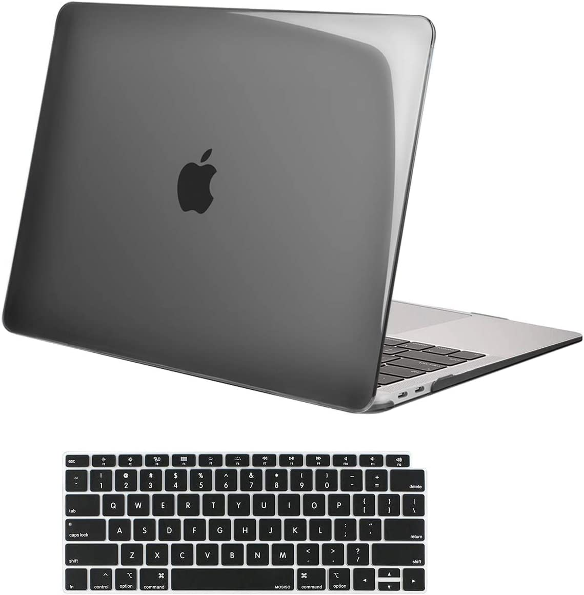 MOSISO MacBook Air 13 inch Case 2020 2019 2018 Release A2179 A1932 with Retina Display, Plastic Hard Shell Case & Keyboard Cover Only Compatible with MacBook Air 13 with Touch ID, Crystal Black