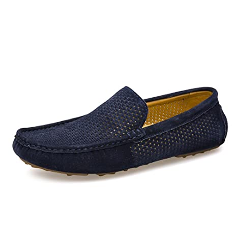 Termee Men Loafers Driving Shoes Men Flats Moccasins blue 6.5