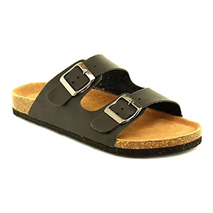 6c6b86d8b Amazon.com  Women s Cork Slides Summer Buckle Two Straps Flat Sandals  Slippers Casual Shoes black 9  Home   Kitchen