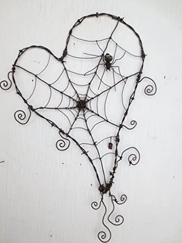 Amazon.com: Wonky Barbed Wire Heart With Spider Web And Spider Made ...