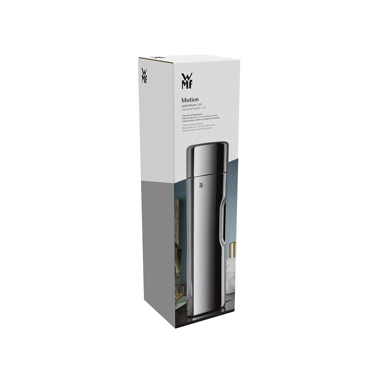 f/ür Tee oder Kaffee Thermosflasche mit Trinkbecher h/ält 24 h kalt und 12 h warm Edelstahl 1,0 l WMF Motion Isolierkanne