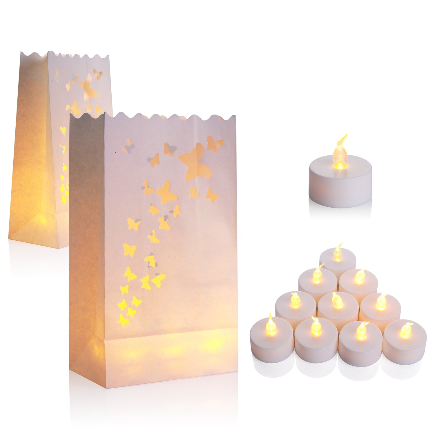 50-Set Flameless Tealight + Candle Bag, AceList Flickering LED Tealight Tea Lights w/ Flame Resistant Paper Luminary Bags for Wedding, Reception, Party and Event Decor