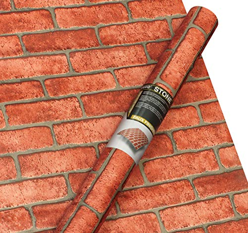 VViViD Pale Red Brick Faux Finish Matte Self-Adhesive Architectural Vinyl Roll (48