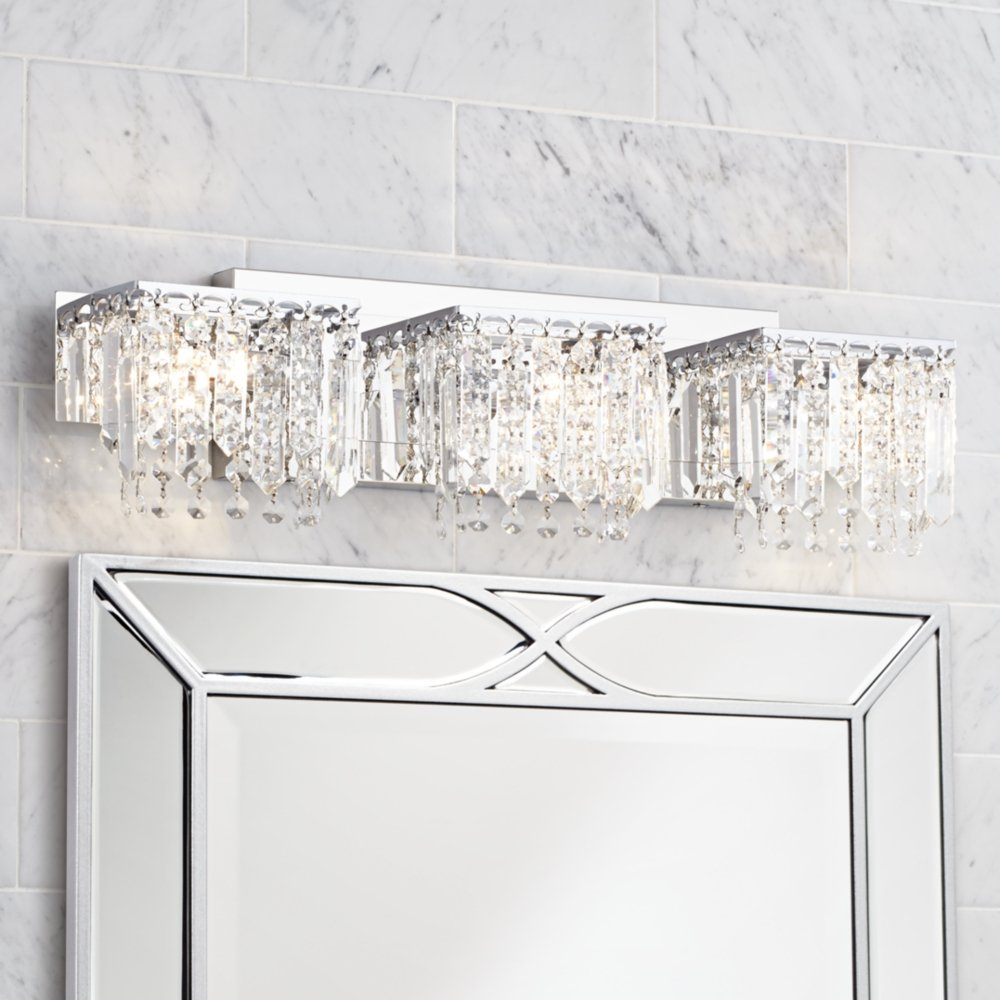 possini euro crystal strand 25 3 4 wide chrome bath light vanity