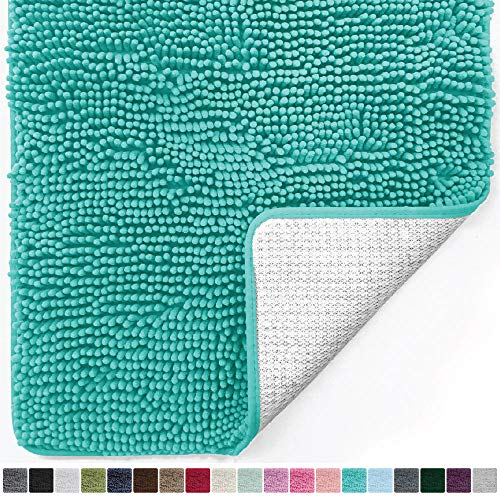(Gorilla Grip Original Luxury Chenille Bathroom Rug Mat (30 x 20), Extra Soft and Absorbent Shaggy Rugs, Machine Wash/Dry, Perfect Plush Carpet Mats for Tub, Shower, and Bath Room (Turquoise))