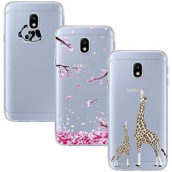 Yoowei 3-Pack for Samsung Galaxy J3 2017 Case, Crystal Clear Soft Silicone  Gel TPU Case Stylish Cute Cartoon Flowers Pattern Bumper Cover for Galaxy