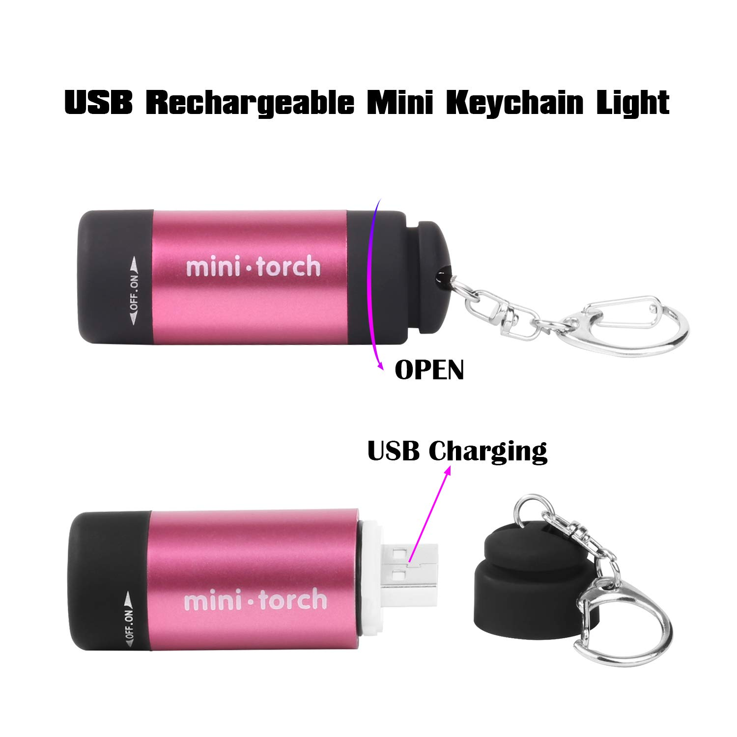 VICOUP 2 Pack LED Keychain Flashlight, Ultra Bright Key Ring Rechargeable Flashlight, Small, Mini, Assorted Colors … (Red)