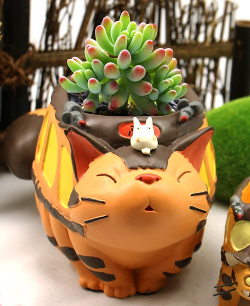 HEYFAIR Cute Cartoon Totoro Cactus Succulent Planter Pot Container Gardens A