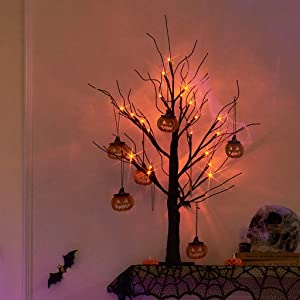 EAMBRITE 2FT Black Glitter Spooky Tree Light with 24 LED Orange Lights and 8 Pcs Pumpkin Accessories for Halloween Decoration Battery Operated Indoor Decoration(UL Certified)