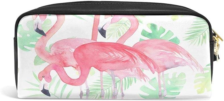 Pink Flamingo Tropical Palm Print Pen Pot Desk Tidy Stationery Brand New