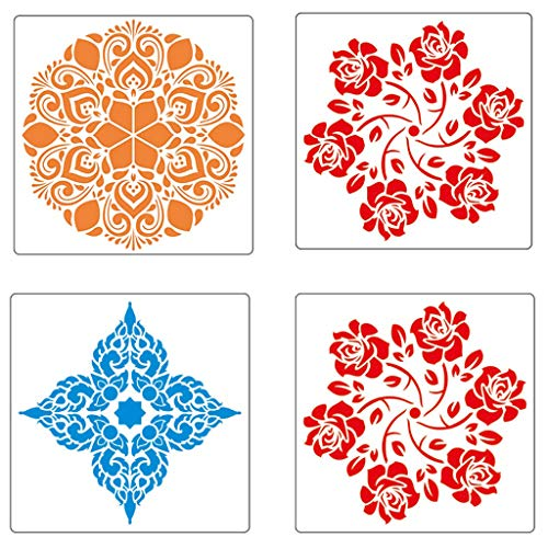 Berryhot Reusable Mandala Floor Stencil Set of 4 (7.9 x 7.9 inch) Painting Stencil, Laser Cut Painting Template Floor Wall Tile Fabric Wood Stencils DIY Decor (Multicolor) -