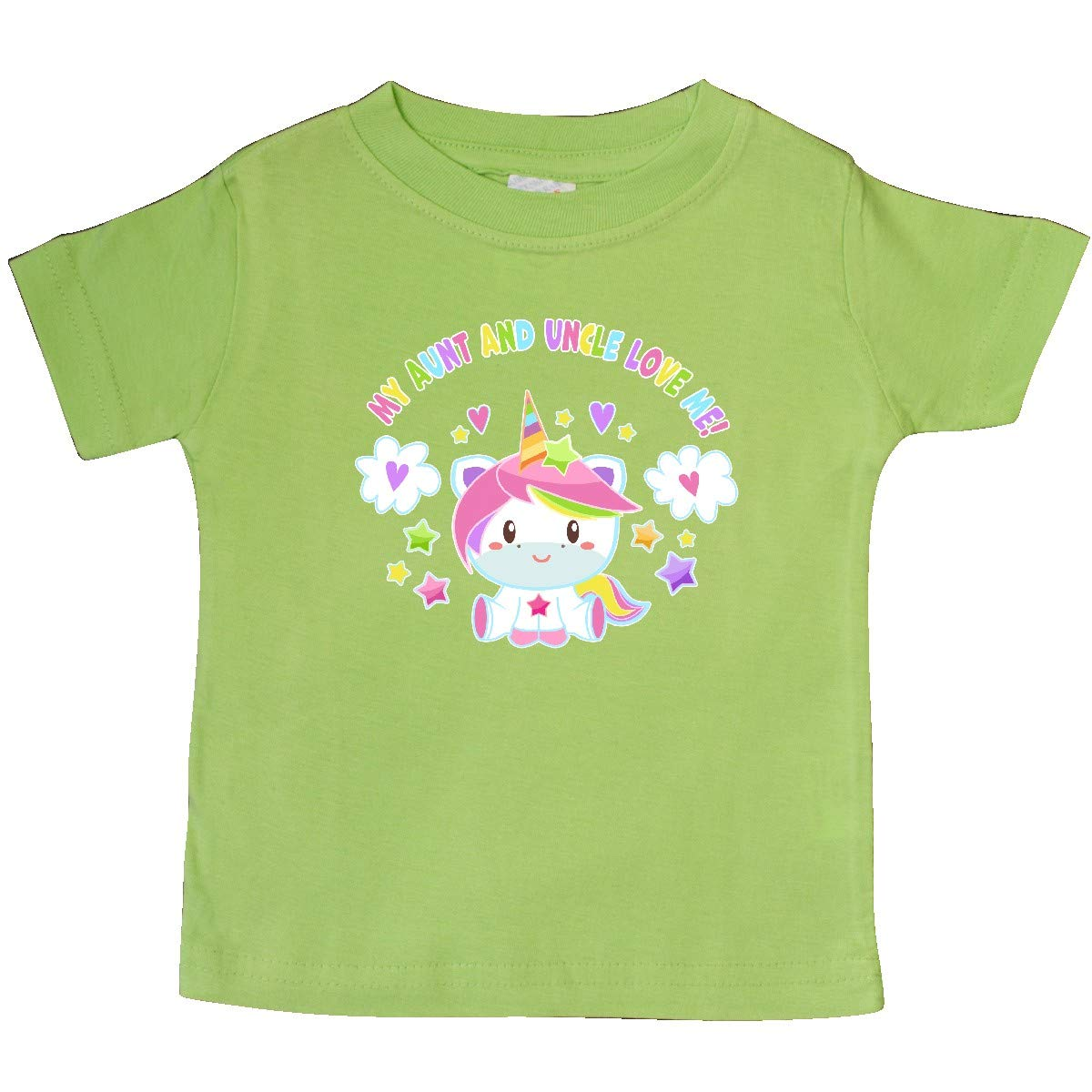 inktastic My Aunt and Uncle Love Me with Cute Rainbow Unicorn Baby T-Shirt