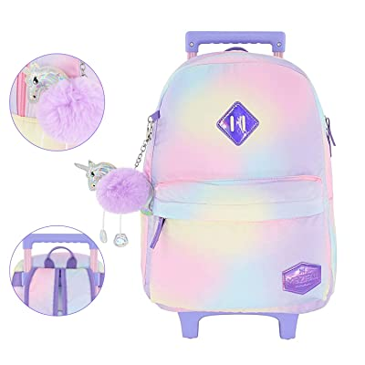 "Mozioni Kids Fashion 18"" Rolling Carry-on Luggage for Girls, School & Travel Lightweight Backpack for Boys rubber Wheel & Coloring Nylon fabric Cabin Size 