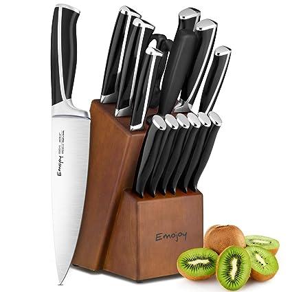 Juego de cuchillos, Juego de cuchillos de cocina de 15 piezas con bloque, Mango