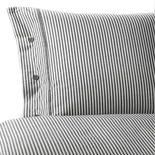 IKEA NYPONROS Duvet Cover and Pillowcase(s) Striped Pattern, White and Gray, Twin