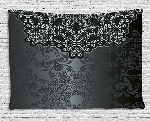 Dark Grey Tapestry, Vintage Damask Inspired Ornament Victorian Swirls Curlicues Artistic, Wall Hanging for Bedroom Living Room Dorm, 60 W X 40 L Inches, Dimgrey Black (Damask Tapestry Fabric)