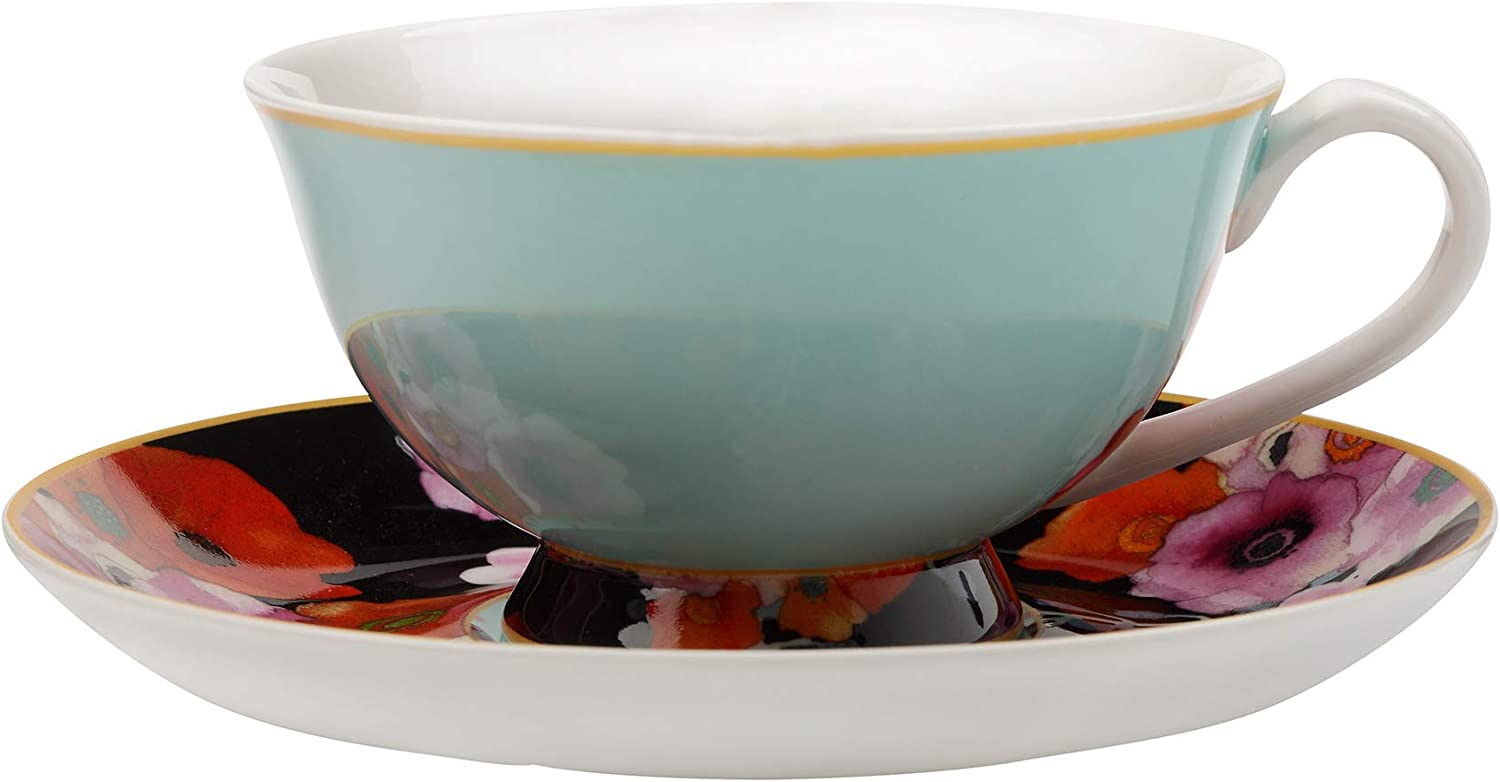 Maxwell & Williams Cashmere Bloems Tea Cup & Saucer, Gift Boxed, Bone China, Blue Black, 200 ml