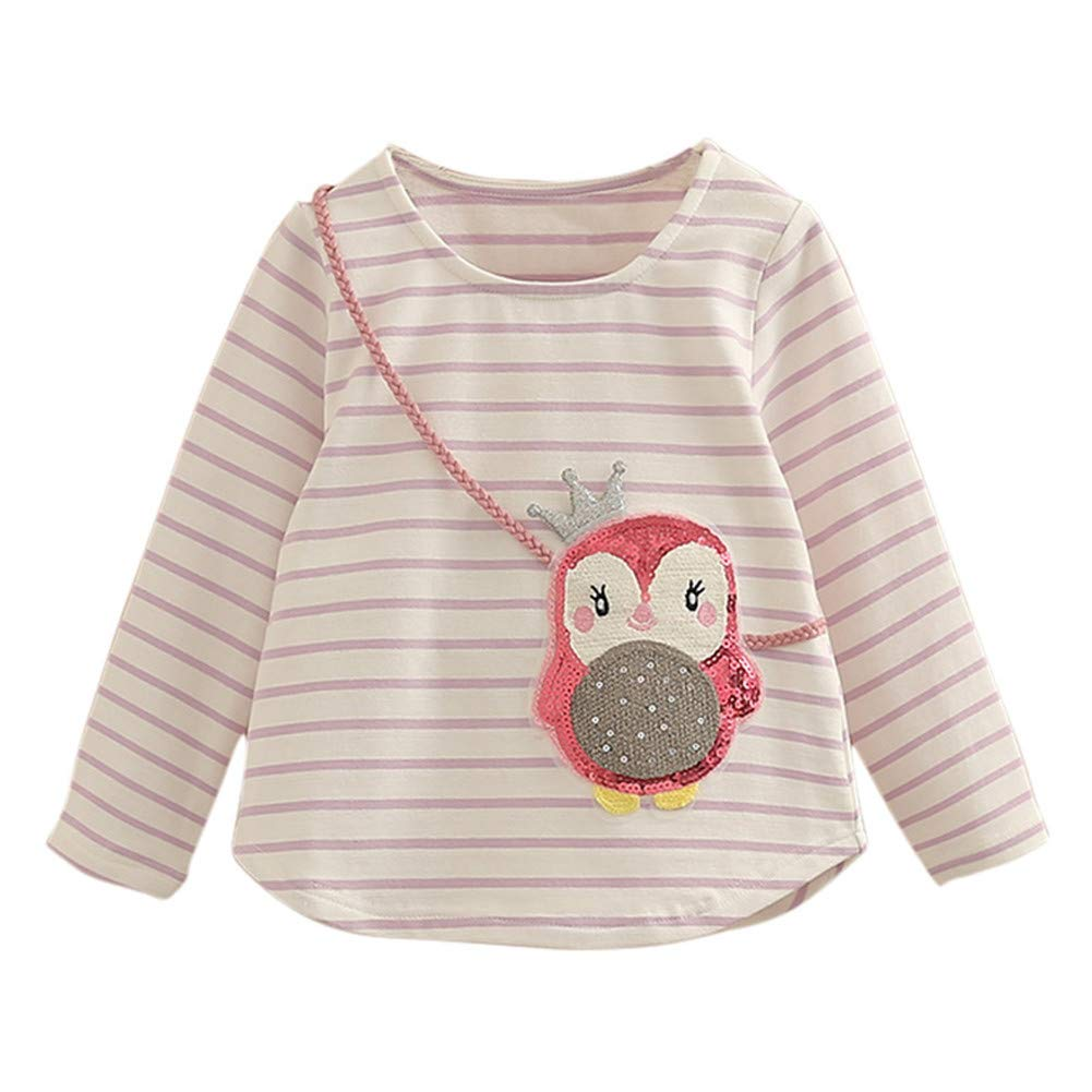 Mud Kingdom Girls Long Sleeve T-Shirt Sequin Cartoon Owl