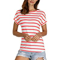 Agmibrelr Striped Summer Tops for Women Short Sleeve Womens T Shirts Tees (S - 3X)