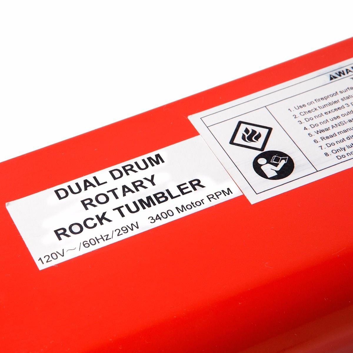 Dual Drum 2 Drum Rotary Rock Stone Metal Tumbler Polisher 6 lb polishing jeweler by Favorite-trade (Image #8)
