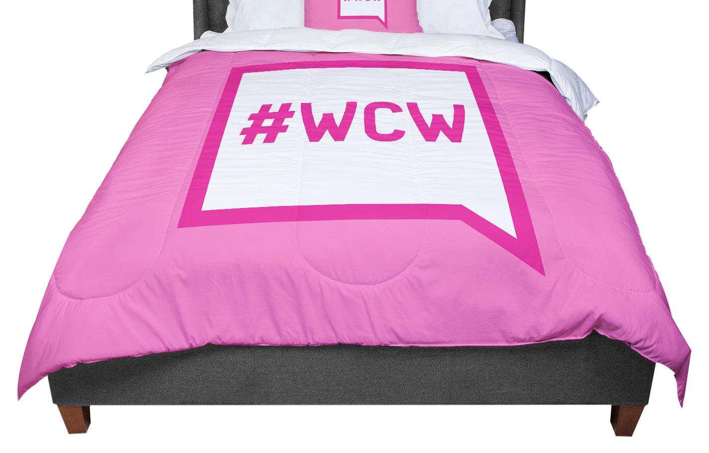 KESS InHouse KESS Original Women Crush Wednesday Pink White Twin Comforter 68 X 88