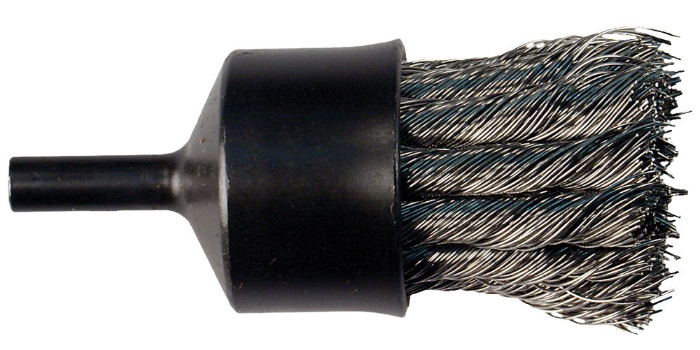 PFERD 83093 Stem Mounted Flared Cup Power Knot End Brush, Stainless Steel Bristles, 3/4'' Diameter, 0.02'' Wire Size, 20000 Maximum RPM