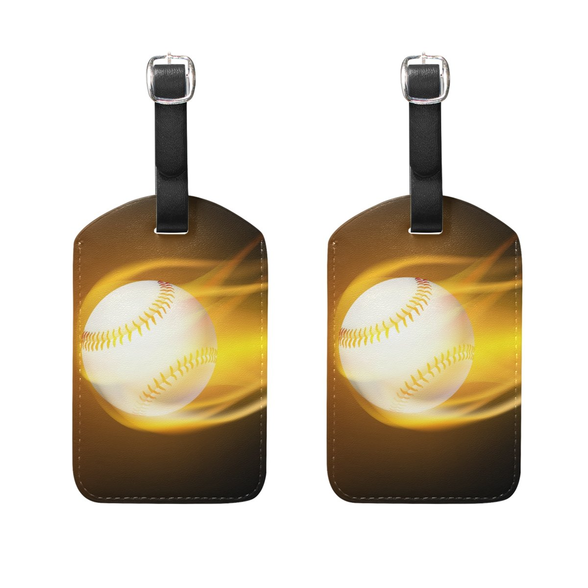 9e5b277deefc Amazon.com   DEYYA Baseball Fire Luggage Tags for Suitcase Labels ...