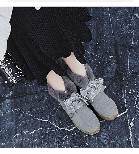 hexiajia Damen Stiefel Grau