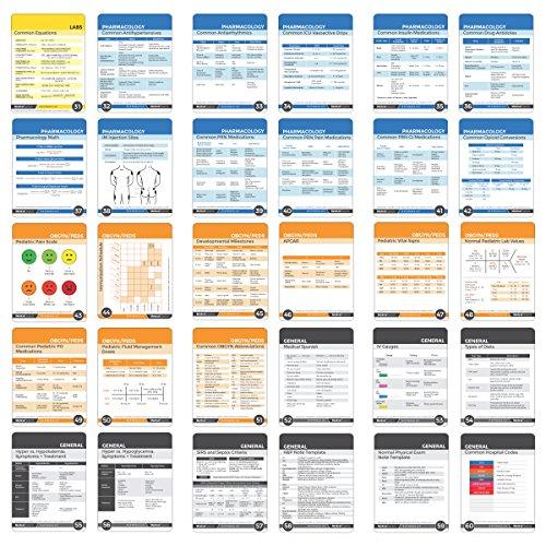 Nursing Notes 60 High Yield Pocket Nursing Reference Cards, Durable Plastic  (3 5