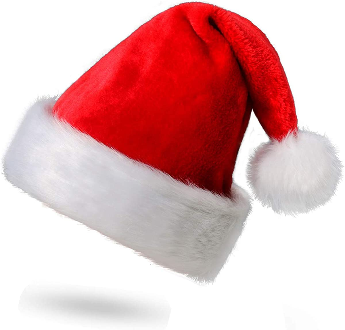 CUSFULL Soft Plush Santa Hat Classic Christmas Santa Claus Cap with Double Liner for Most Adults- One Size