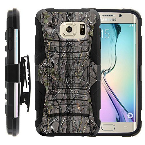 Galaxy S6 Edge Case, Galaxy S6 Edge Holster, Two Layer Hybrid Armor Hard Cover with Built in Kickstand for Samsung Galaxy S6 VI Edge SM-G925 (T Mobile, Sprint, AT&T, US Cellular, Verizon) from MINITURTLE | Includes Screen Protector - Skinny Branch Camouflage