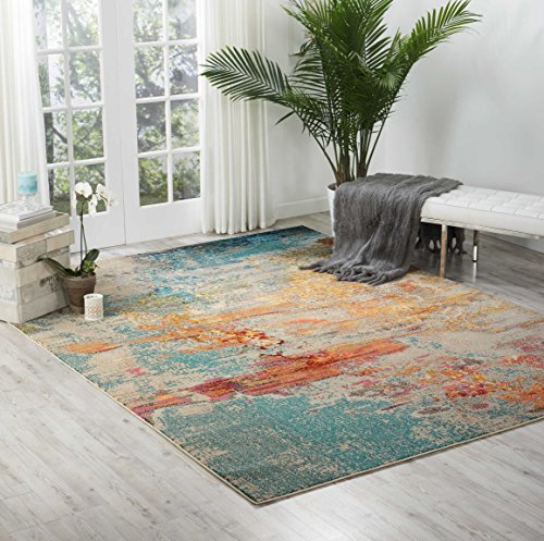 Nourison Celestial  Modern Watercolor Area Rug, 9'x12', Multicolor Grey