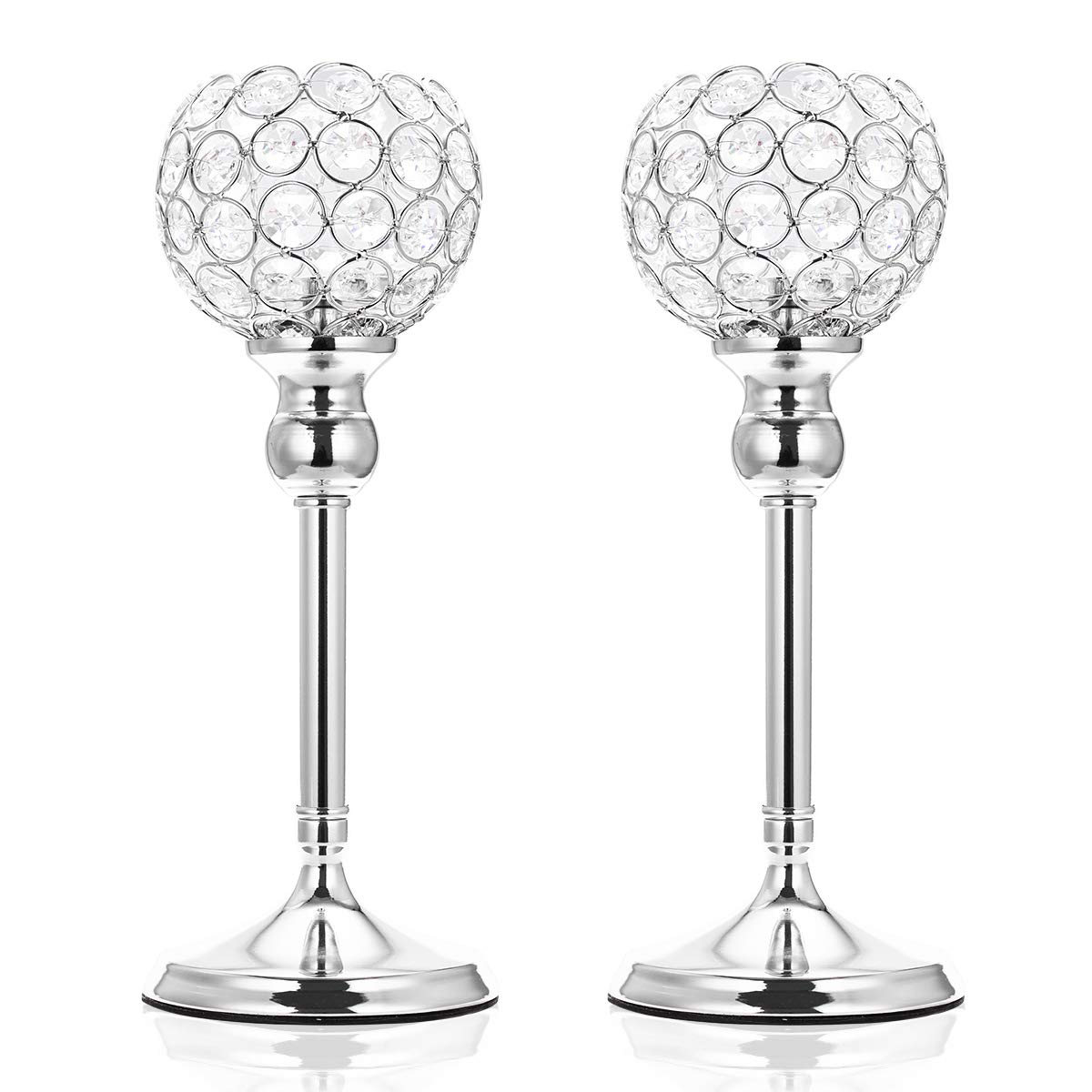 ManChDa Valentines Gift Silver Crystal Spherical Candle Holders Sets Of 2 Wedding Table Centerpieces For Birthday Anniversary Celebration Modern Decoration